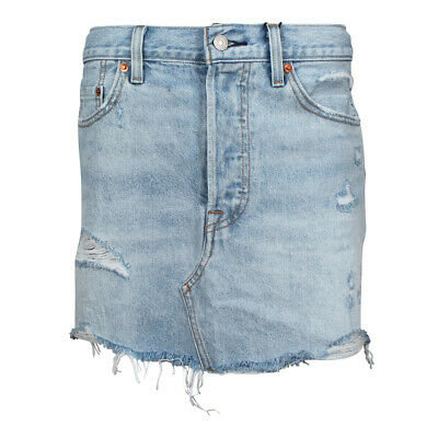 rivenditore online 74fb2 1fa70 LEVI'S DONNA GONNA in Jeans a Campana Decostructed Whats The Danni Frange  Blu