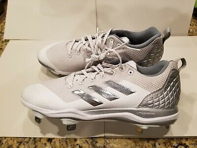 f5a99399b46b Adidas Power Alley 5 Men's Low Metal Baseball Cleats / White Size 10.5 ( B39190)