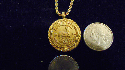 bling gold plated casino 1980 krugerrand pendant charm necklace hip hop jewelry