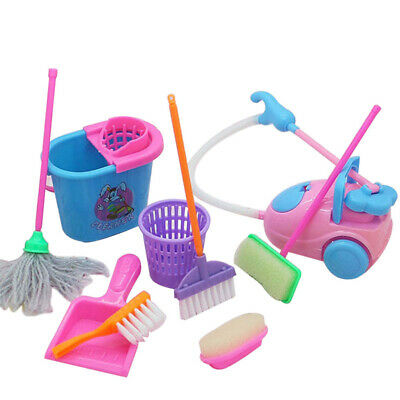 9Pcs Mini House Cleaning Mop Broom Tools Pretend Play Baby Kids Kitchen Toys Set