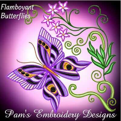 COLOURLINE BUTTERFLIES  10 MACHINE EMBROIDERY DESIGNS CD or USB