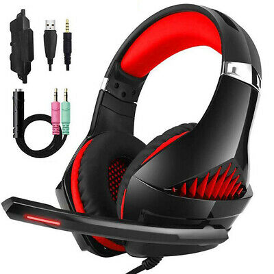 Beexcellent GM-5 Wired Gaming Headset Mic LED Headphones Stereo for PC PS4 Xbox