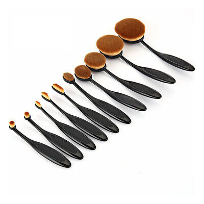 10pcs Pro Oval Toothbrush Makeup Brush Set Foundation Blush Concealer Brushes
