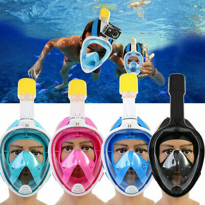 Adult L/XL Full Face Diving Mask Swimming Scuba Snorkel Breath Pipe for Gopro CA