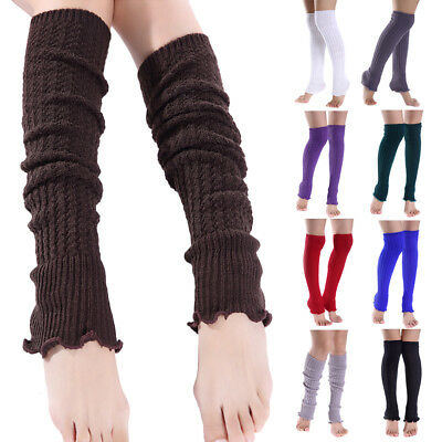 Women Ladies Warm High Knee Stockings Leg Warmers Cable Knitted Crochet Socks AU