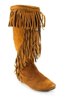 9ae6251e8 Sam Edelman Womens Pull on Knee High Fringe Suede Boots Brown Size 7.5