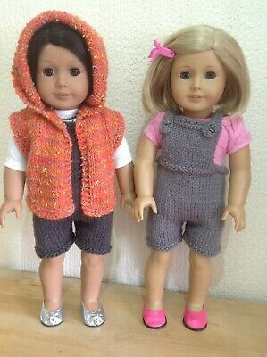 """Dolls clothes knitting pattern.18"""" doll. Hooded Gilet and short dungarees."""