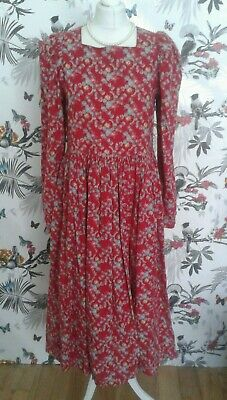 *Laura Ashley* Vintage 80s Red Floral Cotton Dress Size12 14 Victorian Edwardian