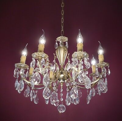 Gold Bronze Crystal Glass Chandelier Vintage Old Ceiling Lamp 8 Light