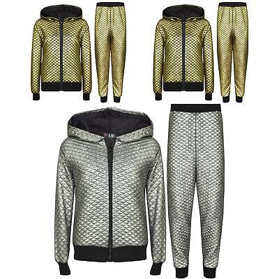 Kids Girls Tracksuit Shiny Quilted Hooded Top Bottom Jogging Suit Jogger 7-13 Yr