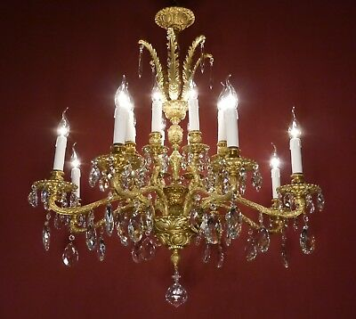 Large Old Crystal Gold Bronze Chandelier Crystal Ceiling Lamp Fixtures Brass