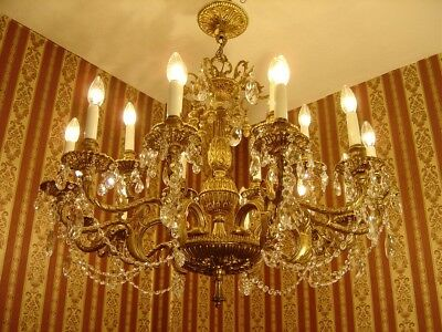 Large Brass Crystal French Chandelier Ceiling Lamp Fixtures 18 L Huge Amazing