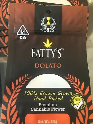 FATTY'S  ** Dolato ** 3.5g Mylar Bags. Cali Pack Bags