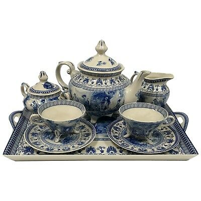 Porcelain Victorian Tea Set with Tray Blue and White Footed Transferware Toile