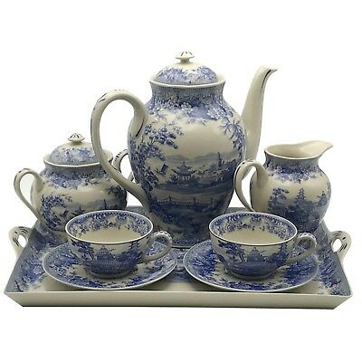 Porcelain Blue and White Victorian CoffeeTea Set with Tray Transferware Toile