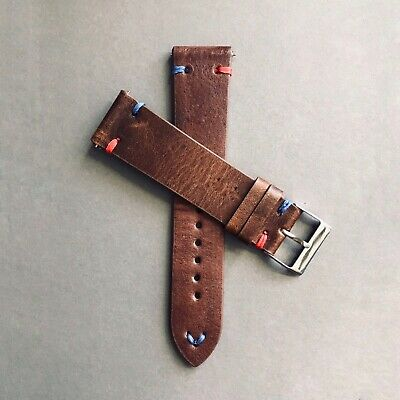 20mm 22mm Handmade Vintage Distressed Brown Leather 'Pepsi' Watch Strap Band