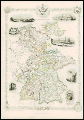 """1850 Original Illustrated Antique Map of """"GERMANY""""  by Tallis (98d)"""