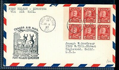 Canada  Fort Nelson - Edmonton  First Flight Cover, 2c Booklet Pane   (A720)