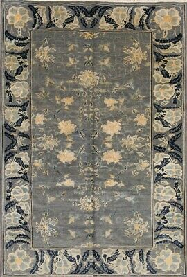 """NEW One-of-Kind All-Over STEEL SILVER GREY Stark Hand-Knotted Rug 9' 7"""" x 6' 5"""""""