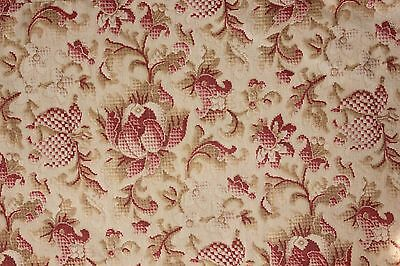 Fabric Antique French FADED floral c1880 printed heavy cotton upholstery weight