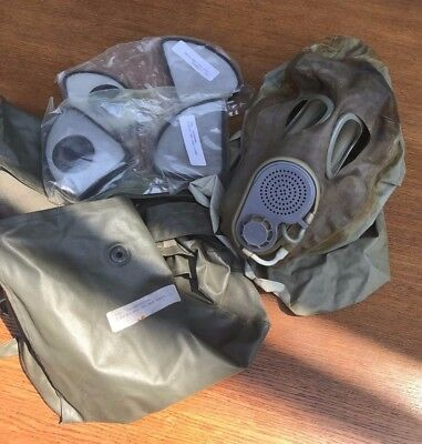 Russian M10 Gas Mask with Hood, Sealed Filters and Case ISSUED w/name - RARE!