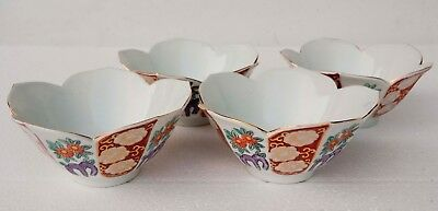 "SET of 4 Japanese BOWLS Imari Porcelain Lotus Shaped Flower Design 6"" Diameter"