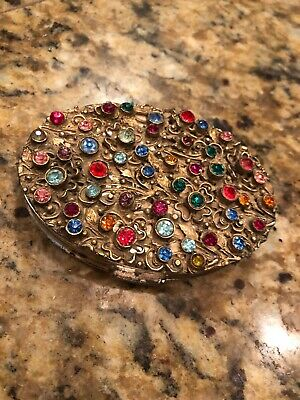 Antique Art Deco Czech Jeweled Filigree Ornate Compact Vanity Box Case