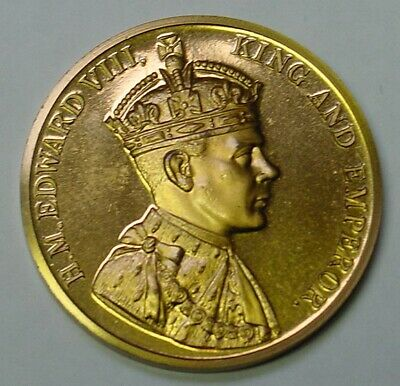 GB. Edward VIII Proposed Coronation medal in gilt copper.