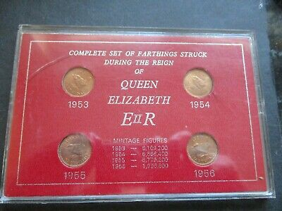 QE11 BOXED SET OF 4 x FARTHINGS STRUCK DURING HER REIGN 1953 - 1956