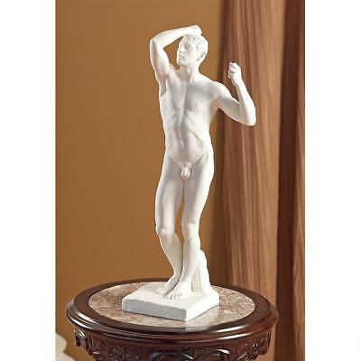 """Bronze Age Statue by Auguste Rodin Musee d'Orsay Replica Reproduction 19"""" white"""