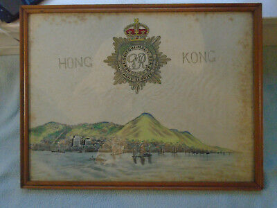 Chinese Inkwash Painting  On Silk  Hong Kong Royal Army Services Corps