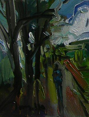 Jose Trujillo Original Oil Painting Abstract Impressionism Woods Woodland Person