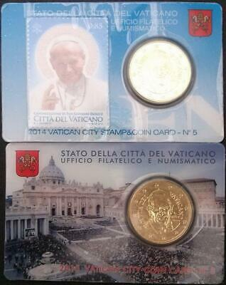 Vatican 2015 and 2014 50c Euro Coins BU Sealed in Commemorative Cards