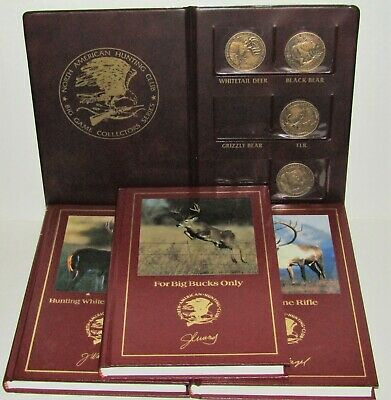 North American Hunting Club Deer Books and Big Game Collector Coins Lot