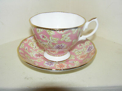 Royal Albert Vintage Florals Peach Bone China Cabinet Cup And Saucer Beautiful