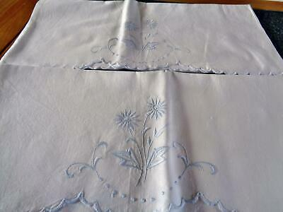 Delicately Worked Embroidered Blue Daisy Sprigs Pillowcases, Scallop Edge
