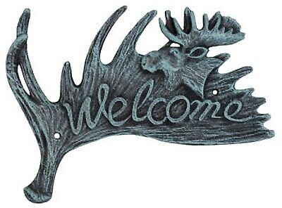 Cast Iron MOOSE WELCOME Wall Plaque Rustic Brown LODGE DECOR