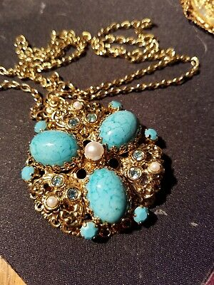 Robins egg blue AB Rhinestone Faux Pearl Goldtone Necklace pendant Vtg