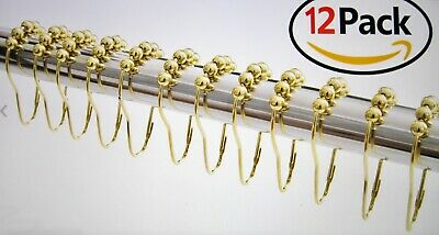 Shower Metal Curtain Roller Ball Rings 12 In Pack Gold