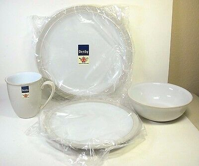 Denby Linen 4 Piece Place Setting England Discontinued NIB