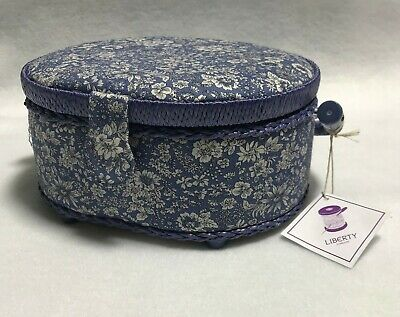 Liberty of London Small Oval Sewing Box - Blue Floral