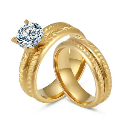 316L Stainless Steel Gold Plated CZ Engagement Wedding Round Rings Set Size 7-10