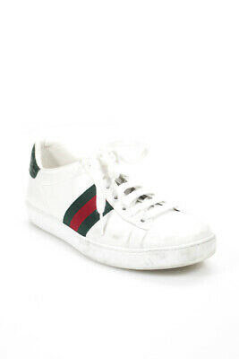 76937f6b016 GUCCI ACE CRYSTAL embellished lips white leather trainer sneakers sz ...