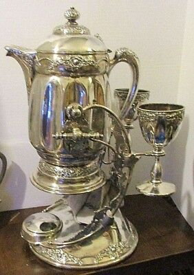 Victorian Silverplate Wilcox Tilting Beverage Pitcher With 2 Goblets, Base