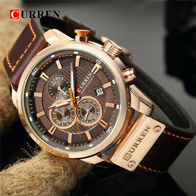 Fashion Mens Leather Wrist Watch Date Quartz Analog Army Military Sport Casual