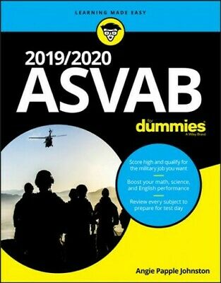 ASVAB for Dummies 2019/2020, Paperback by Johnston, Angie Papple, Like New Us...