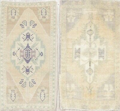 Set of 2 Geometric Muted Color Oushak Turkish Hand-Knotted Oriental 2x3 Wool Rug
