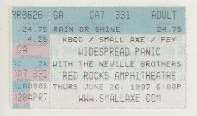 RARE Widespread Panic Neville Brothers 6/26/97 Red Rocks CO Ticket Stub! Denver