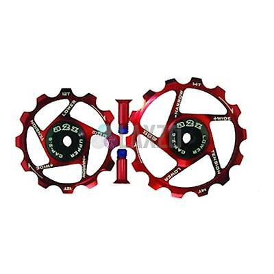 A2Z Bicycle Sram Derailleur Pulleys Narrow Wide For Bikes (12+14T, Red)