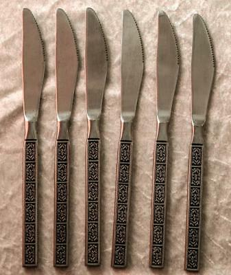 Mid Century Vintage Set of 6 Wiltshire BURGUNDY Knives Retro Stainless Cutlery
